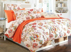 American Pastoral Style Bright Flowers Printing Luxury 4-Piece Cotton Duvet Cover Sets