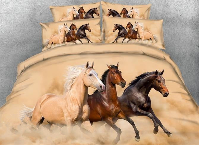 3D Three Running Horses Printed Luxury 4-Piece Bedding Sets/Duvet Covers