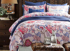 American Pastoral Style 100% Cotton Luxury 4-Piece Floral Duvet Cover Sets