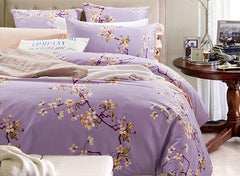 Graceful Pastoral Floral Style Purple Luxury 4-Piece Cotton Bedding Sets/Duvet Cover