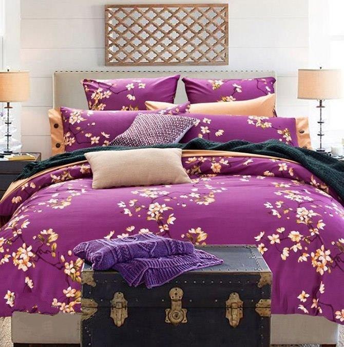 American Pastoral Style Floral Print Purple Luxury 4-Piece Bedding Sets/Duvet Cover