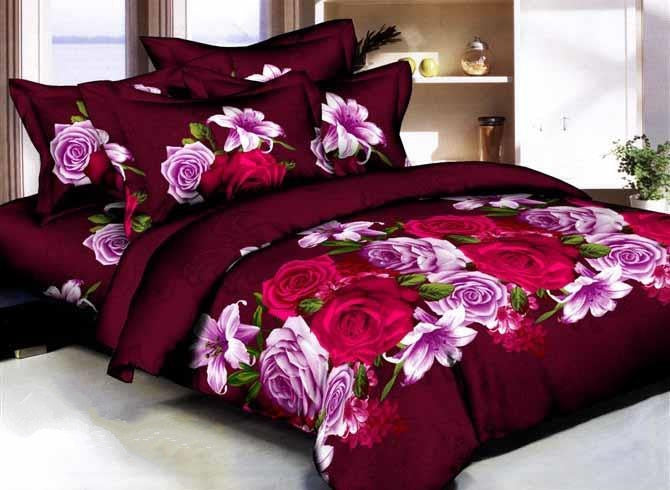 Rose and Lily 3D Printed Burgundy Cotton Luxury 4-Piece Bedding Sets/Duvet Covers
