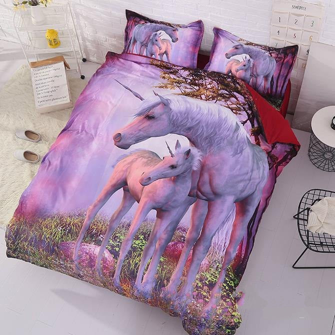 3D Unicorn Printed Cotton Luxury 4-Piece Bedding Sets/Duvet Covers