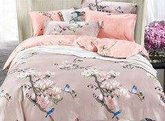 Pastoral Blue Birds on Magnolia Twig Printing Satin Luxury 4-Piece Duvet Cover Sets