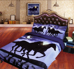 3D Two Running Horses Printed Cotton Luxury 4-Piece Bedding Sets/Duvet Covers