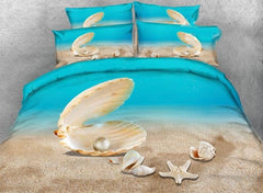3D Shell and Starfish Printed Luxury 4-Piece Bedding Sets/Duvet Covers