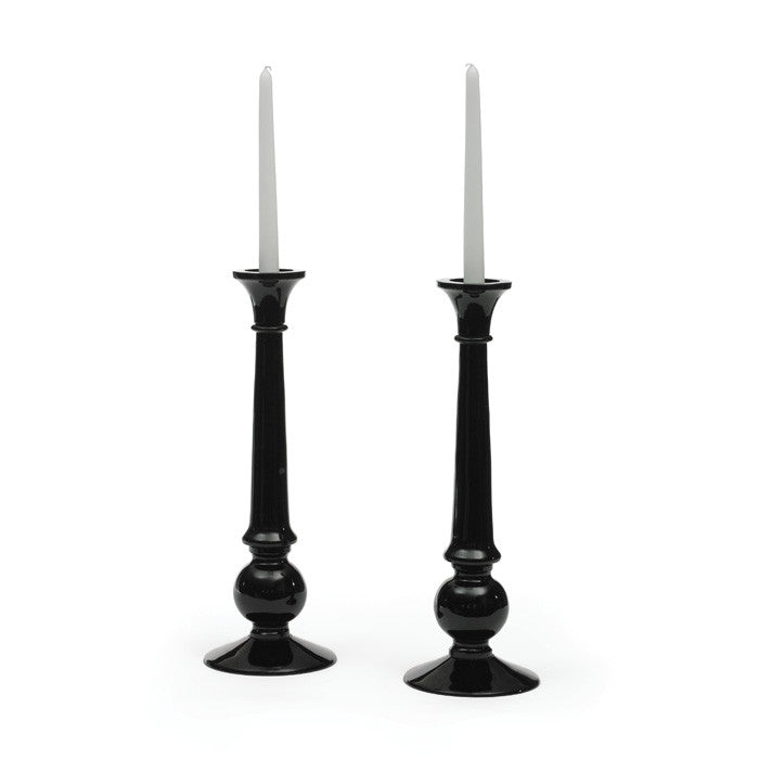 Pair Of Glass Shine Candlesticks