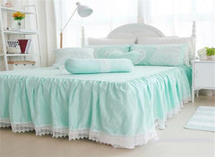 Princess Style Lace Edging Mint Green Cotton Luxury 4-Piece Bedding Sets