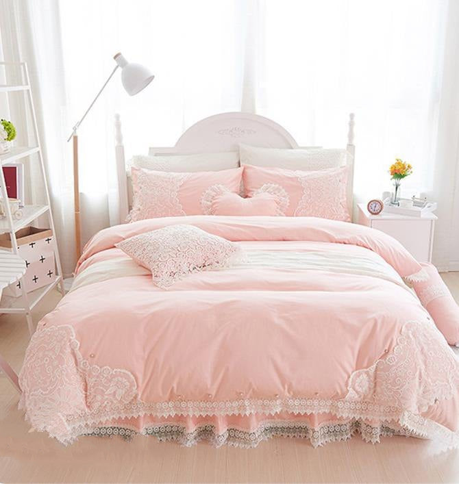 Full Stylish Lace Dreamy Pink Luxury 4-Piece Cotton Bedding Sets/Duvet Cover