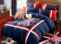 Unique England Flag Printed Luxury 4-Piece Cotton Bedding Sets/Duvet Cover
