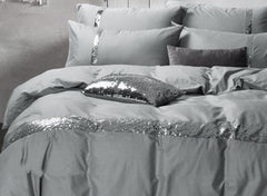 Sequin Grey Cotton Luxury 4-Piece Bedding Sets/Duvet Covers
