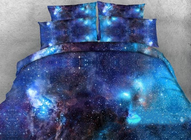 3D Blue Galaxy Realistic Style Printed Luxury 4-Piece Bedding Sets/Duvet Covers