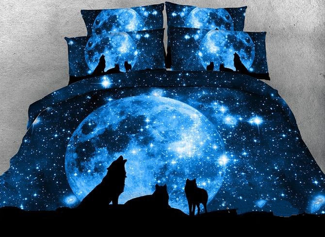 3D Wolf and Galaxy Printed Cotton Luxury 4-Piece Blue Bedding Sets/Duvet Covers