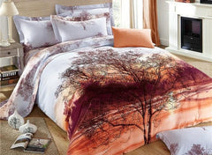 Stunning Lifelike Tree Print Luxury 4-Piece Cotton Bedding Sets/Duvet Cover