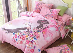 Flower Fairy Printed Cotton Luxury 4-Piece Pink Duvet Covers/Bedding Sets