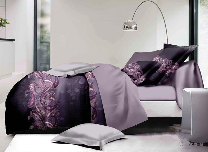 Purple Paisley Print Polyester Luxury 4-Piece Bedding Sets/Duvet Covers