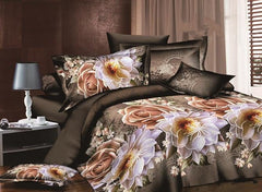 Vintage Style Rose and Peony Print Luxury 4-Piece Duvet Cover Sets