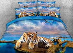 3D Yellow Tiger and Blue Ocean Printed Cotton Luxury 4-Piece Bedding Sets/Duvet Covers