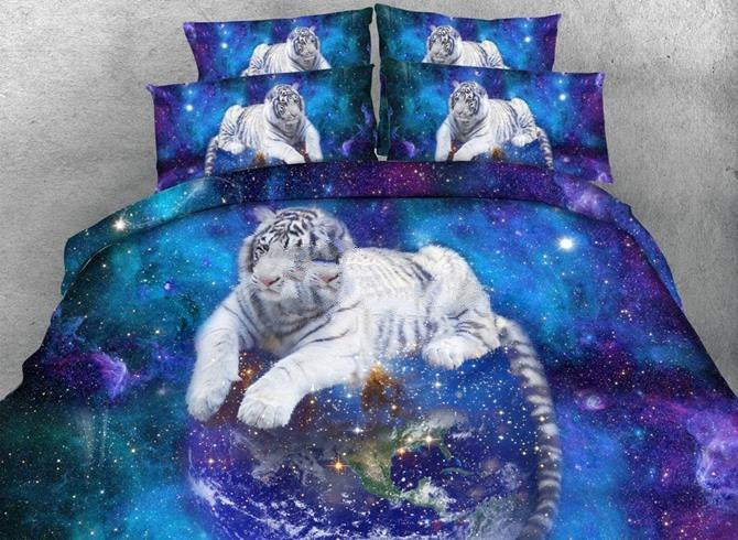 3D White Tiger and Galaxy Printed Luxury 4-Piece Bedding Sets/Duvet Covers