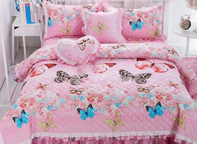 Full Dreamy Butterfly Print Quilting Seam Pink Luxury 4-Piece Cotton Bedding Sets/Duvet Cover