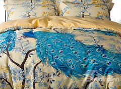 Designer Brocade Peacock and Branches Luxury 4-Piece Cotton Bedding Sets/Duvet Cover