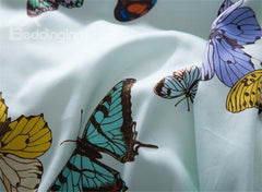 Designer Brocade Splendid Colorful Dancing Butterflies Printed Luxury 4-Piece Egyptian Cotton Bedding Sets
