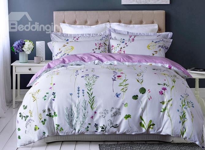 Designer Brocade Pastoral Floral Egyptian White Luxury 4-Piece Cotton Bedding Sets/Duvet Cover