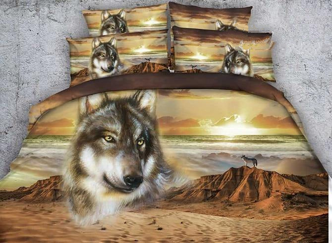 3D Wolf and Mountain Printed Cotton Luxury 4-Piece Bedding Sets/Duvet Covers