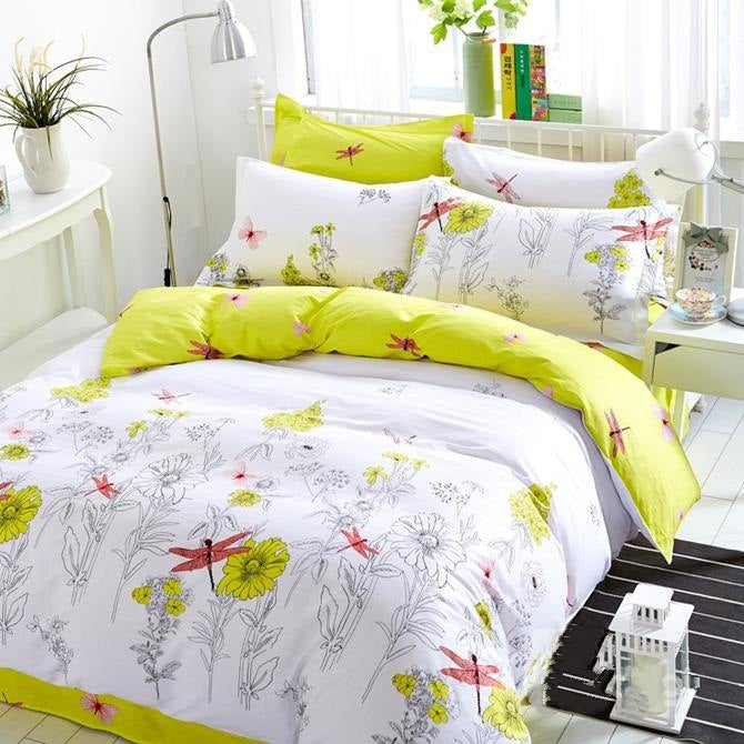 Fresh Blossoms and Dragonflies Print Luxury 4-Piece Cotton Bedding Sets/Duvet Cover