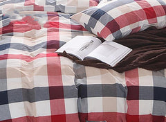 Red and Black Plaid Print Vintage Style Cotton Luxury 4-Piece Bedding Sets
