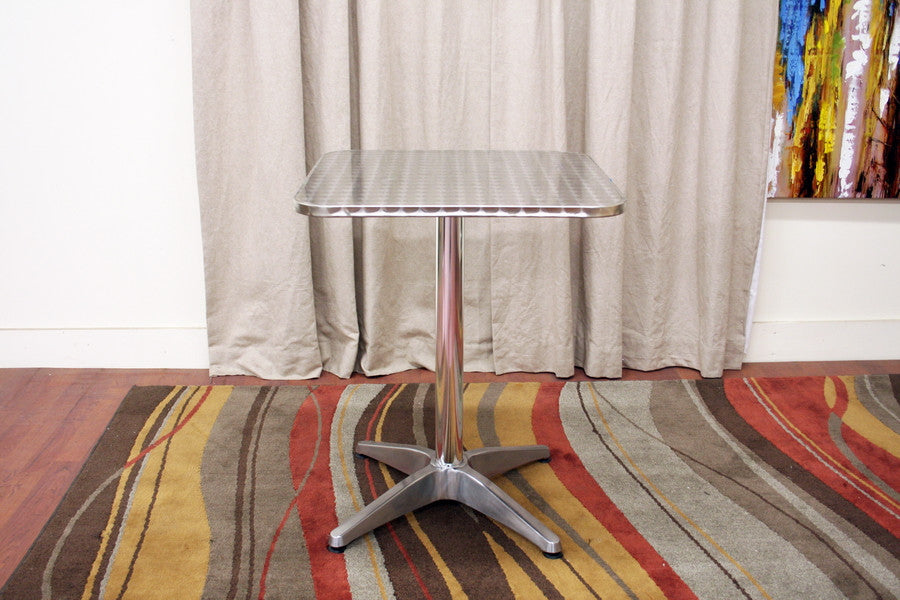 Baxton Studio Cafe Table with Square Silver Top