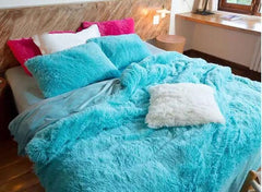 Full Size Bright Blue Princess Style Luxury 4-Piece Fluffy Bedding Sets/Duvet Cover