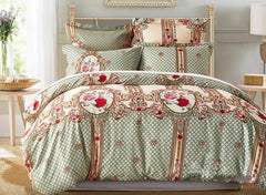 Rose and Plaid Printed Ethnic Style Blue Polyester Luxury 3-Piece Bedding Sets/Duvet Cover