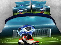 3D Soccer Ball and Shoes Printed Cotton Luxury 4-Piece Bedding Sets/Duvet Covers