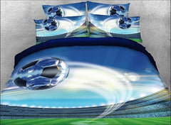 3D Flying Soccer Ball Printed Cotton Luxury 4-Piece Bedding Sets/Duvet Covers