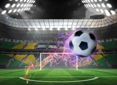 3D Flying Soccer Ball under Stadium Lights Printed Cotton Luxury 4-Piece Bedding Sets