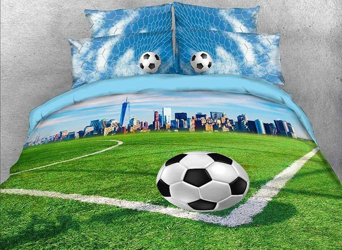 3D Soccer Field and City Scenery Printed Luxury 4-Piece Bedding Sets/Duvet Covers