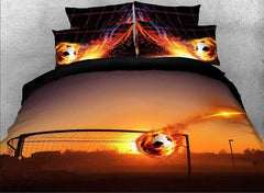 3D Fiery Soccer Ball and Goal Printed Cotton Luxury 4-Piece Bedding Sets
