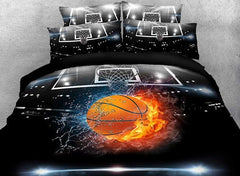 3D Basketball Ball in Fire and Water Printed Cotton Luxury 4-Piece Bedding Sets