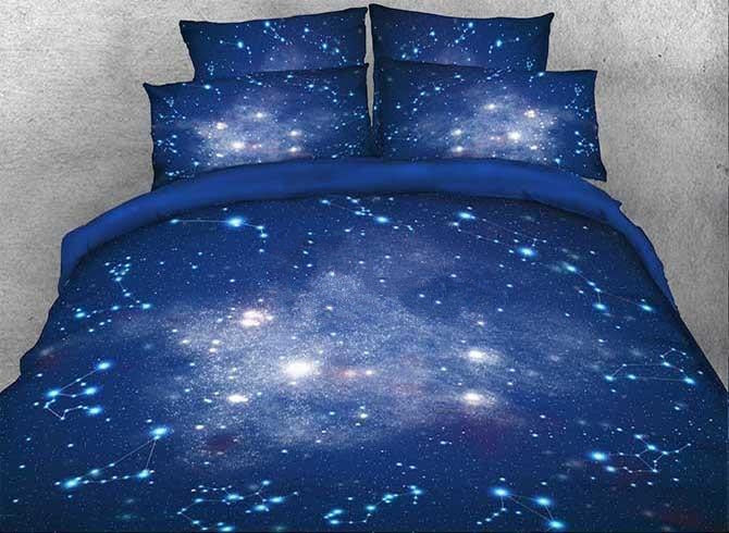 3D Galaxy and Constellation Printed Cotton Luxury 4-Piece Blue Bedding Sets/Duvet Covers