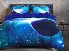 3D Galaxy and Celestial Body Printed Luxury 4-Piece Green Bedding Sets/Duvet Covers