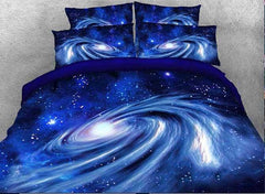 3D Spiral Galaxy Universe Printed Cotton Luxury 4-Piece Blue Bedding Sets/Duvet Covers