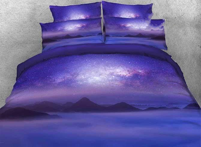 3D Mountain under Galaxy Printed Cotton Luxury 4-Piece Purple Bedding Sets/Duvet Covers