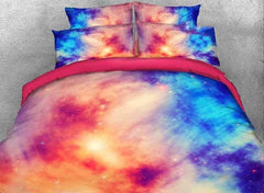 3D Pink Blue Contrast Galaxy Printed Cotton Luxury 4-Piece Bedding Sets/Duvet Covers