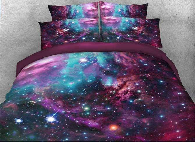 3D Stars and Multicolored Galaxy Printed Cotton Luxury 4-Piece Bedding Sets/Duvet Covers