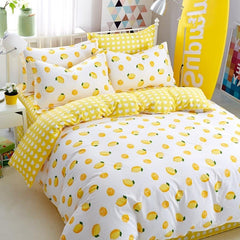 Yellow Lemon Fresh Style Cotton Luxury 4-Piece Bedding Sets/Duvet Cover