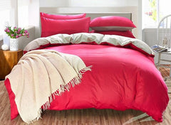 Solid Red and Gray Color Blocking Cotton Luxury 4-Piece Bedding Sets/Duvet Cover