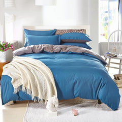 Solid Royal Blue and Gray Color Blocking Cotton Luxury 4-Piece Bedding Sets/Duvet Cover