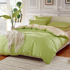 Solid Matcha Green and Beige Color Blocking Cotton Luxury 4-Piece Bedding Sets/Duvet Cover