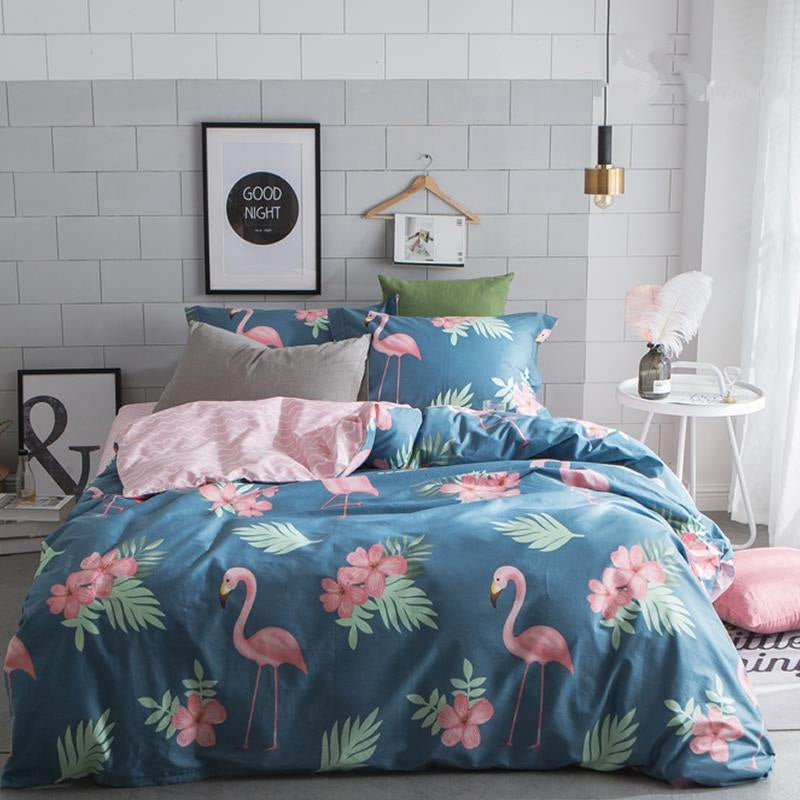 Pink Flamingos and Tropical Plants Blue Cotton Luxury 4-Piece Bedding Sets/Duvet Cover